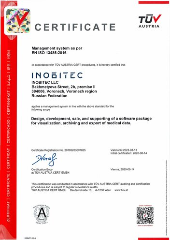 Management system certificate as per EN ISO 13485:2016